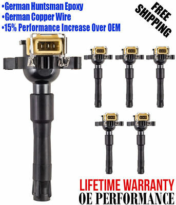 Pack of  6 Premium Ignition Coils For 95-05 BMW M3 323is 528i 328i 750iL Z8 X5