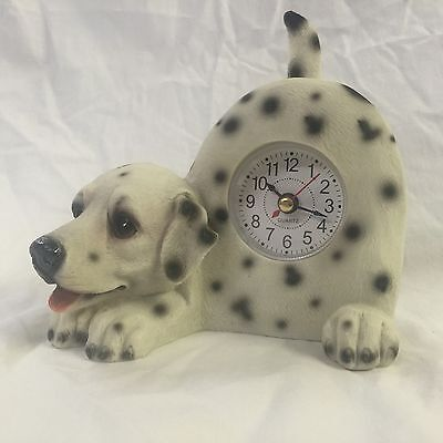 GREEN MONDAY SALE Critter Clock Dalmatian Tabletop Wagging Tail Puppy Fire Dog