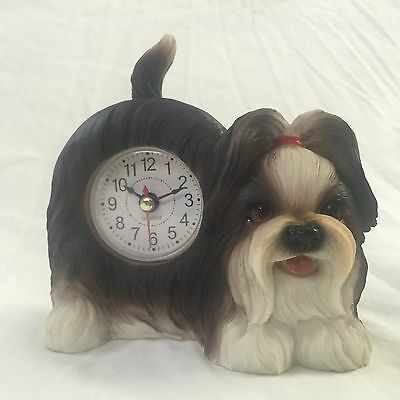 EASTER SALE Critter Clock Shih Tzu Tabletop Wagging Tail Puppy Dog