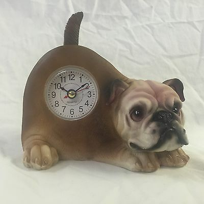PRESIDENT'S DAY SALE Critter Clock Bulldog Tabletop Wagging Tail Puppy Dog