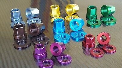 "DMR NUTZ Wheel Axle Nuts (PAIR) CNC ALLOY Mountain Bike BMX 3/8"" or 14mm"