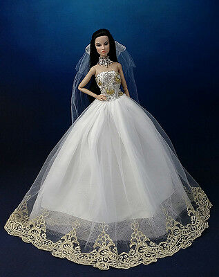 Fashion Princess Party Dress/Wedding Clothes/Gown+Veil For 11.5in.Doll K02B