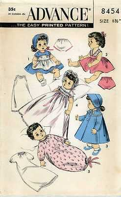 ORIGINAL 50s Doll Clothes PATTERN 8454 for 8.5 inch Betsy Wetsy Suzy doll Ideal