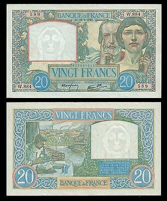 France 20 Francs SCIENCE ET TRAVAIL 22.8.1940 P 92 XF+
