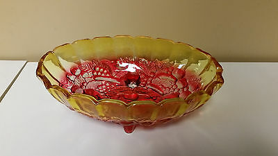 Antique/Vintage 2-Color Amber/Red Cut Glass Footed Furit/Serving Bowl -- Grapes