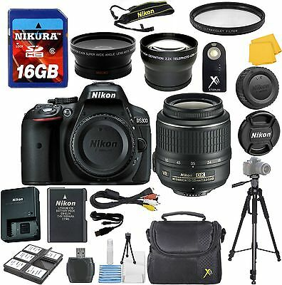 Nikon D5300 Digital SLR Camera + Nikon 18-55mm VR Zoom Lens + 2 Lens Starter Kit