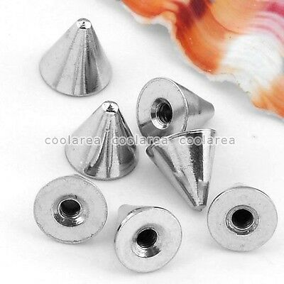 100x 16G Taper Cone Bead Accessory For Lip Navel Eyebrow Nose Ring Body Piercing
