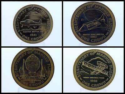 1983 Isle of Man One Crown Manx Bicentenary of Manned Flight Coin