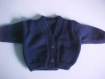 NAVY BLUE V-NECK CARDIGAN SWEATER fits American Girl, Bitty Baby & Chatty Cathy