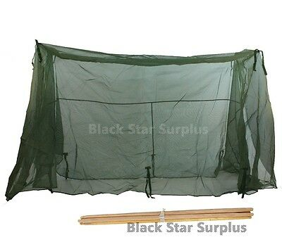 US Military Mosquito Net (Insect Bar) with 4 Wooden Poles for Tri-fold Cot NEW