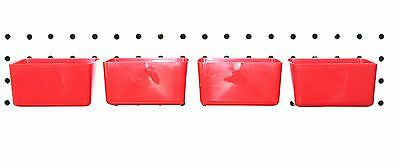 Plastic RED BOARD BIN 4 PACK Tool Workbench PEGBOARD NOT INCLUDED