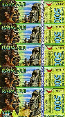 LOT Easter Island, 5 x 500 Rongo, 2012, Polymer, UNC   New Design