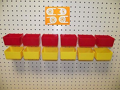 "16 PACK 1/4"" HOLE Peg Board Workbench Bins (6) Red (6) Yellow (4) Tool holders"