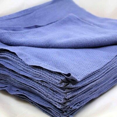 48 Premium Blue Huck Towels Glass Cleaning Janitorial Lintless Surgical Detail