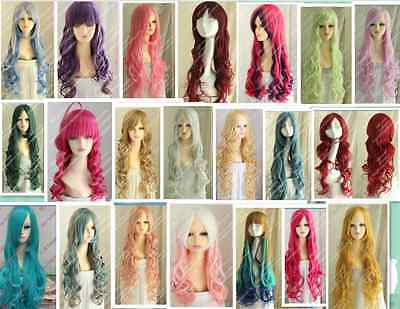 Cos blue,purple,pink,green,gray,red,  long   curly cosplay Heat-resistant wig