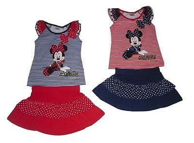 Girls Outfit 2 Piece Set Shorts & T-Shirt Disney Minnie Mouse Official