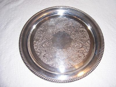 "Vintage - Wm Rogers Silver Plated Round 15"" serving Tray #272.  w/ flannel bag"
