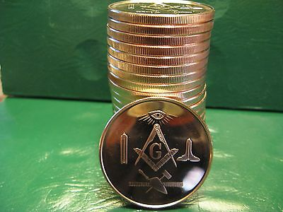 "Masonic Freemason ""Limited""1oz .999 Copper 20 beautiful rounds 1 Roll"