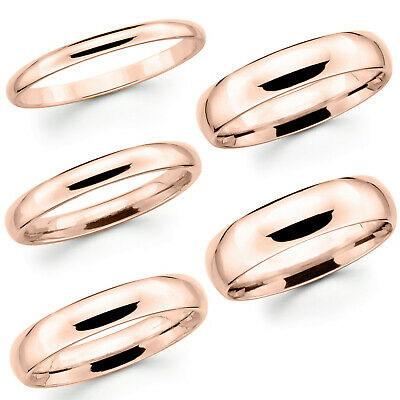 Solid 10K Pink Rose Gold 2mm 3mm 4mm 5mm Comfort Fit Men Women Wedding Band Ring