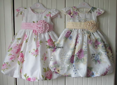 Girls Floral Dress Bubble Hem Summer Wedding Flower Girl Bridesmaid Party Outfit