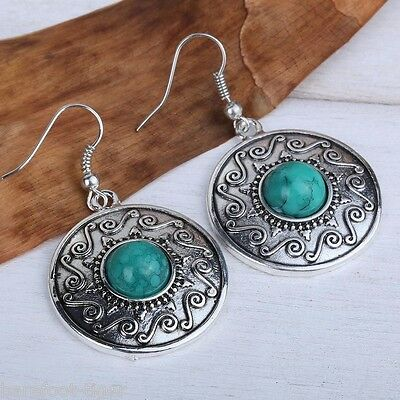 Barefoot Hippy Celtic Boho Earrings Green Turquoise and Silver Alloy Gift Boxed