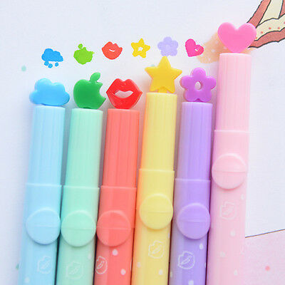 Hot 6pcs Candy Colors Stationer  multi shapes Highlighters Marker Pens Writing