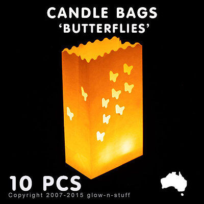 10x PAPER CANDLE BAGS BUTTERFLIES FLAMELESS TEA LIGHT LANTERN WEDDING LUMINARIAS