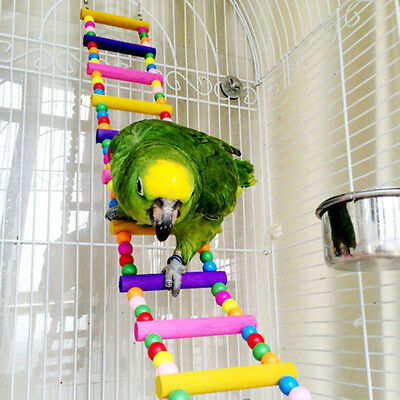 Pet Bird Macaw Cockatiel Parrot Hamster Wood Ladder Climb Bell Swing Bite Toy