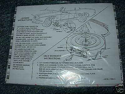 1965 Ford Mustang Trunk Jack Instructions Decal
