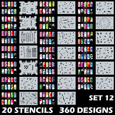 Set 12 360 Airbrush Nail Art STENCIL DESIGNS 20 Template Sheets Kit Brush Paint