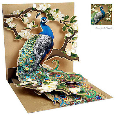 3D Greeting Card by Up With Paper - Peacock & Magnolias #1037
