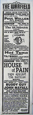 Paul Weller, Phish, House of Pain, RATM, Buddy Guy 1993 Warfield Marquee Poster