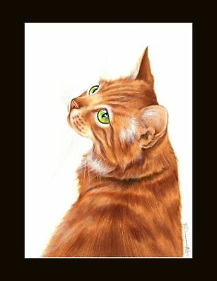 Ginger Cat Glance Back Print by I Garmashova