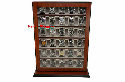 30 Watch Mahogany Stand Wall Mount Display Storage Case Fit up to 65mm + Cloth