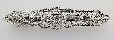 .art Deco 15Ct White Gold & Old Cut Diamond Brooch Valuation Of $5145. 1.03Cts