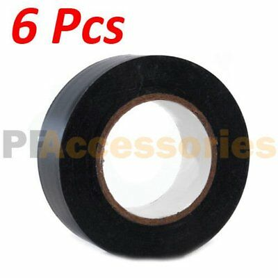 "6 Rolls 50 FT General 0.7"" Inch Vinyl PVC Black Insulated Electrical Tape LOT"