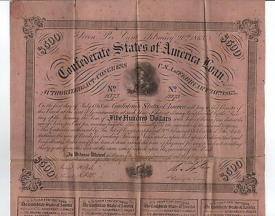 1863 $500 The Confederate States of America War Bond w/ 8 Coupons!