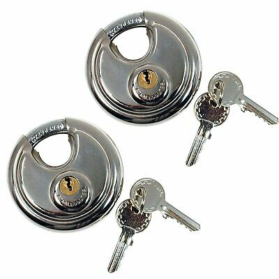 2 x 70mm Heavy Duty Stainless Steel Armor Brass Cylinder Disc Padlock Round Lock