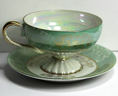 Napcoware Light Green Gold Trim Saucer #C-6912
