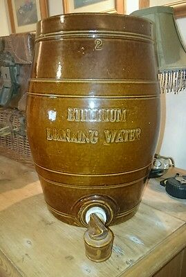 Antique Glazed Pottery Water Barrel With Original Tap