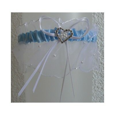 RIBBON white - blue garter with frill and a crystal heart ( PW26 - SEWILLA)