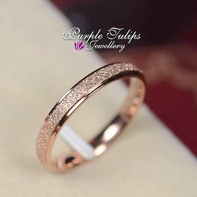 18CT Rose Gold Plated Scrub 2mm Surface Band Ring