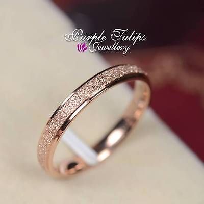 18CT Rose Gold Plated Scrub 3mm Surface Band Ring