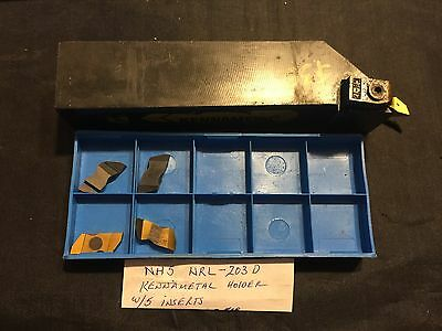 Kennametal NH5 NRL-203D Tool Holder w/ 5 Mixed Carbide Inserts