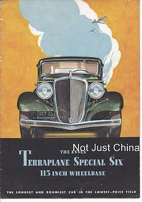 Vintage Hudson 1933 Essex Terraplane Special Six - Fold Out Pamphlet or Brochure