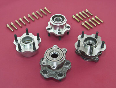 Front & Rear 5-Lug Conversion Hub W/ Extended Studs For 240SX 89-94 S13