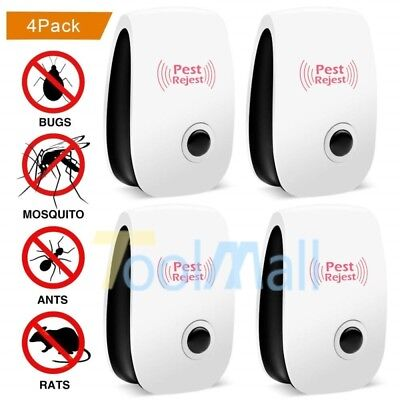 4 X Electronic Ultrasonic Anti Pest Bug Mosquito Cockroach Mouse Killer Repeller