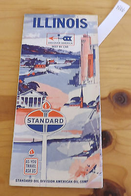 Vintage STANDARD OIL ROAD MAP OF ILLINOIS *Copy Right 1966