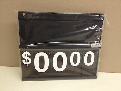"CASE of 13 Black Plastic Price Sign 12.5"" x 11"" Spiral Flip Dollar Numbers"