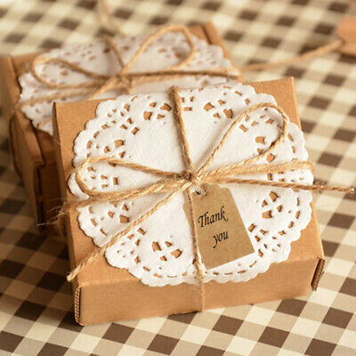 100x Wedding Kraft Paper Blank Card Gift Tags Rectangle Label w.Twines Brown